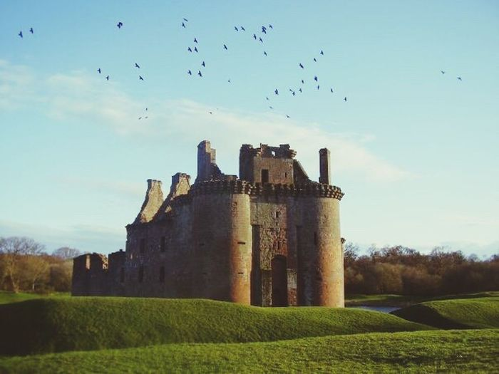 Caerlaverock Castle, Dumfries, Scotland, Maxwell Clan Crest, Family Crest, History, Genealogy, Architecture, Art, Scottish Clan, Border Reivers, Castle, Stone, Doorway, Flock Of Birds History Architecture Outdoors Old Ruin Castle Building Exterior