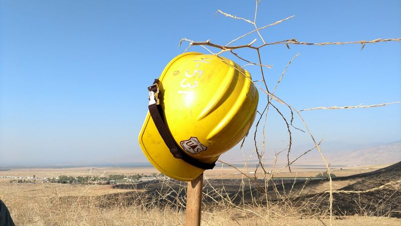EyeEm Selects No People After The Fire Wildland Firefighter Wildland Firefighting Wildland Fire Aviation Outdoors Yellow Close-up The Week On EyeEm Firefighters Fire Helmet Burnt Burned Smokey Bear... Tejonranch Tejon Pass
