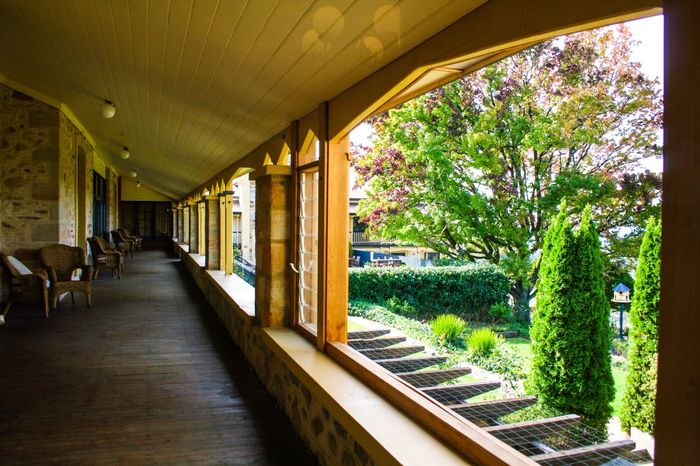 Grand old hotel Old Hotel Old Verandah Old Porch Cane Chairs Trees Autumn Australia