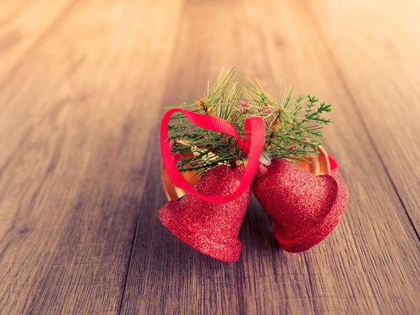 Christmas decoration stuff on table Christmas Bell Copy Space Christmas Decoration Christmastime Close-up Day Food Food And Drink Freshness Green Color Indoors  No People Red Still Life Table Wood - Material