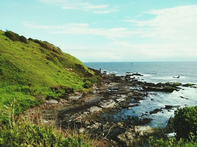 The Moss after the storm Blue Sky Sea Seaside Seascape Sea And Sky Sea_collection Seascape Photography Ocean View Coastline Coastal Life Cliffside Cliff Beautiful Shore hidden Goan beauty Naturephotography EyeEm Best Of EyeEm