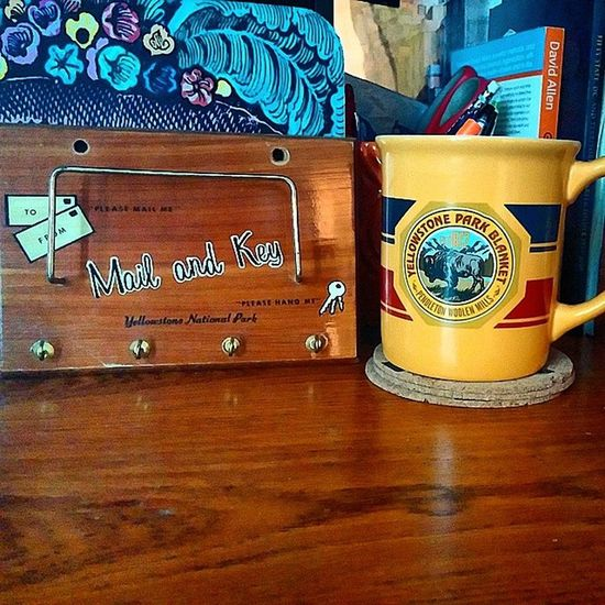 Vintage mail and key station from Yellowstone National Park! Goodwill find of the day. The mug is from Pendleton Woolen Mills. Pendleton Yellowstone