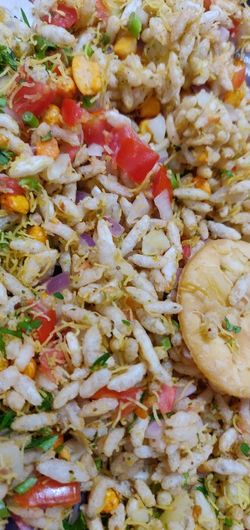 Bhel Puri Rice Puff Peanuts SEV Coriander Leaves Full Frame Backgrounds Vegetable Close-up Food And Drink