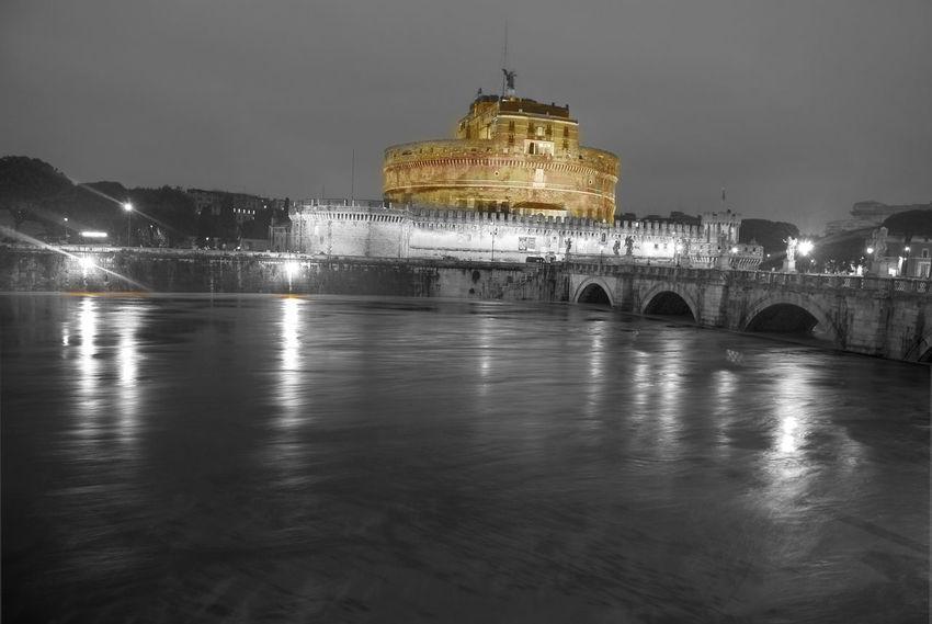 Saint Angel castle and Tiber river Rome Saint Angel Castle Tiber River Arch Architecture Building Exterior Built Structure History Illuminated Night Tiber Water