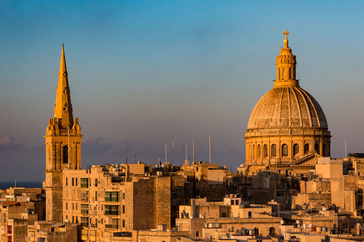 St. Paul's and Our Lady of Mount Carmel Architecture Building Exterior Built Structure Capital Cities  Church City Cityscape Dome Famous Place Golden Hour History International Landmark Malta Place Of Worship Religion Sky Skyline Spirituality Tower Valletta