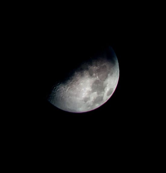 samsung galaxy S7 edge + nikon telescope Moon Moon Surface Beauty In Nature Space Exploration Half Moon Outdoors Close-up Clear Sky Night Nature No People Space Sky