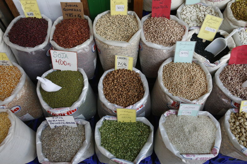 High angle view of pulses in sack for sale at market