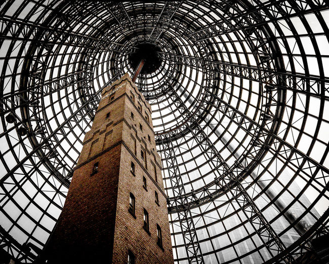 Architecture Brickwork  Built Structure Chimney Day Dome Girder History Indoors  Low Angle View Melbourne Central Nature Railway Station Shot Tower Sky Travel Destinations
