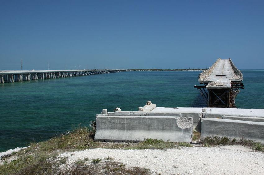 Florida Keys Bridges And Highways Bahia Honda State Park 7milebridge Old And New Roads EyeEm Selects Water Sea Clear Sky Beach Sky Horizon Over Water Scenics Tranquil Scene Tranquility