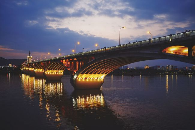 Bridge - Man Made Structure Connection Architecture River Night Illuminated Dusk Travel Destinations Reflection Transportation Built Structure Cloud - Sky Sky FUJIFILM X-T10 Cityscape Sunset Outdoors Urban Skyline No People City Changsha, Hunan Travel Landscape Dramatic Sky Light And Shadow