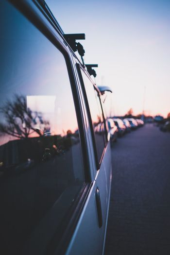 Sunset in window of camping van Travel Mood Evening Live Authentic Life Roadtrip Camping Reflection Mirror Sunset Vanlife Van Life Car Transportation Land Vehicle Mode Of Transport No People Day Outdoors Close-up Sky
