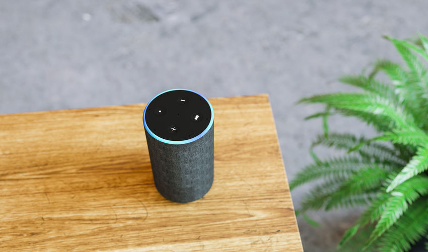 High angle view of smart speaker on table