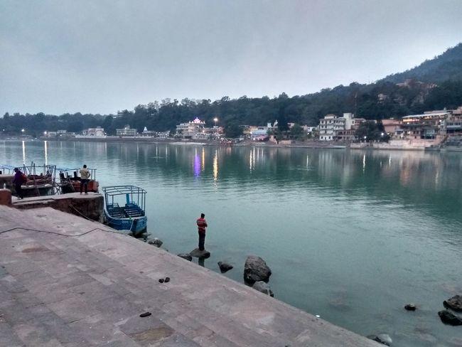 Beauty In Nature Mountain Nautical Vessel Night Lights Prayers Real People Rishikesh Water