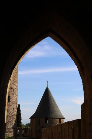 Architecture Built Structure Building Exterior Sky Arch Day No People Outdoors Architecture Carcassone, France Carcassonne France Castles Ancient Civilization Travel Destinations History Cloud - Sky Ancient Blue Sky Bell Tower