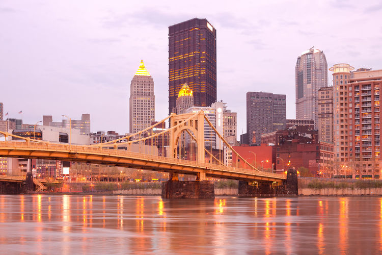Downtown skyline and andy warhol bridge over allegheny river, pittsburgh, pennsylvania, usa