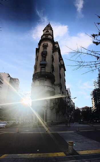 Sunlight Lens Flare Sky Sunbeam Architecture Sun Built Structure Religion Low Angle View Spirituality Statue No People Building Exterior Day Sculpture Outdoors Barrio De Caballito Argentina