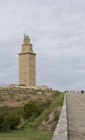 Tower of Hercules A Coruña Autumn City Galicia SPAIN Sunny Travel Architecture Building Exterior Built Structure Cloud - Sky Guidance Lighthouse Outdoors People Sky Tower Tower Of Hercules Travel Destinations Vertical