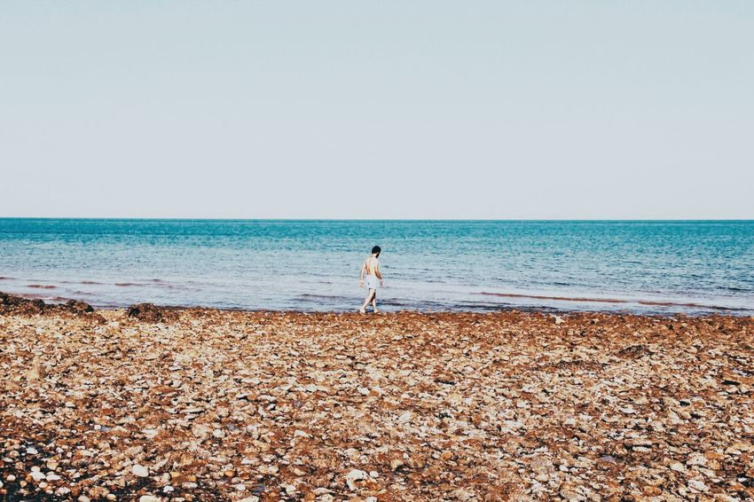 There you are Sea Water Beach Sky Land Horizon Horizon Over Water Tranquility Beauty In Nature Tranquil Scene Outdoors Day Nature Real People One Person