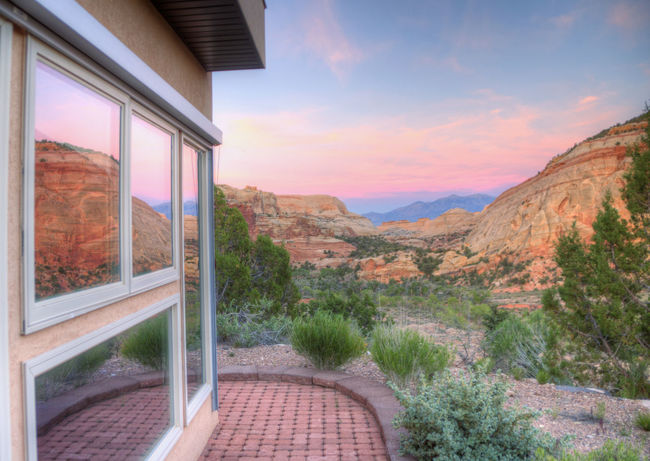 Architecture Beauty In Nature Building Exterior Built Structure Day HDR Landscape Landscape_Collection Mountain Nature No People Outdoors Scenics Sky Sunset Tranquil Scene Tranquility Tree Water Window