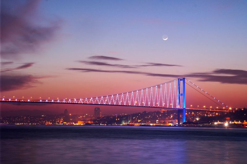 Scenic view of illuminated bosphorus bridge against sky during sunset