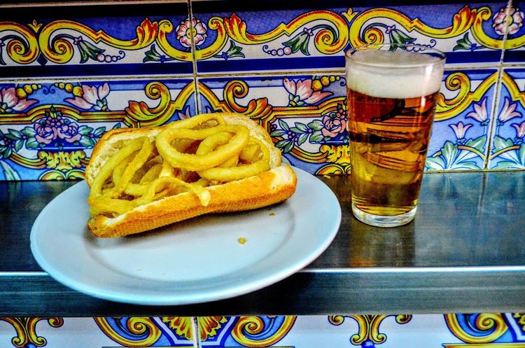 Bocadillo Típico Aperitivo  Calamares Close-up Day Drink Drinking Glass Food Food And Drink Freshness Healthy Eating Indoors  No People Plate Ready-to-eat Refreshment Table