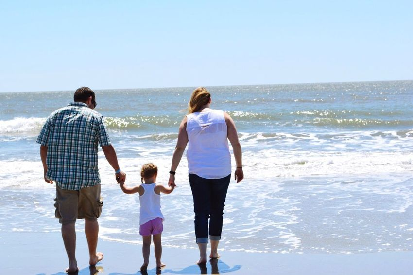 First time for Em seeing the ocean. Beach Family Vacation EmExploring South Carolina Ocean Atlantic Ocean Atlantic Coast Charleston Charleston SC Coastline Coast Family Time Family Matters FamilyTime Happiness Togetherness Beach Day