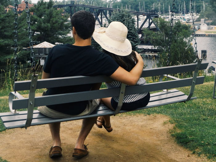 Two People On A Swing Intimate Moment Overlooking View Hugging St. Joseph, Michigan Silver Lake Mi Two Is Better Than One