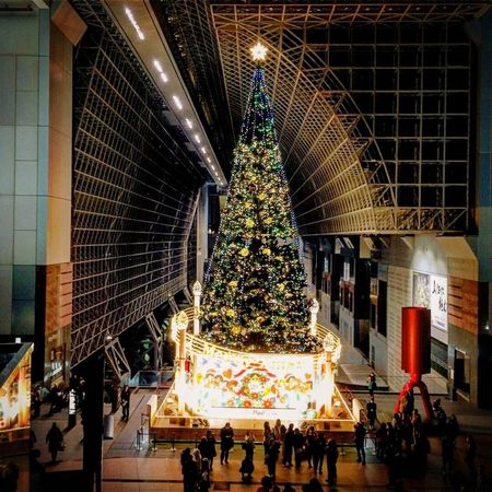 Merry Christmas Large Group Of People Architecture Built Structure Christmas Real People Illuminated Celebration Building Exterior Night Women Sculpture Men Indoors  Crowd People Adult Adults Only Kyotostation Christmas Tree Christmas Lights Kyoto Japan Photography Landscape EyeEmNewHere Indoors  EyeEm Ready