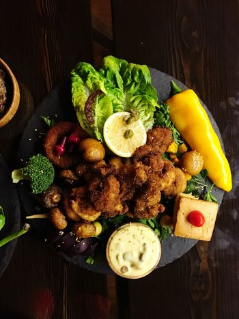 Fish Food Food And Drink Freshness Healthy Eating Vegetable High Angle View Indoors  No People Ready-to-eat Plate Table Lettuce Close-up