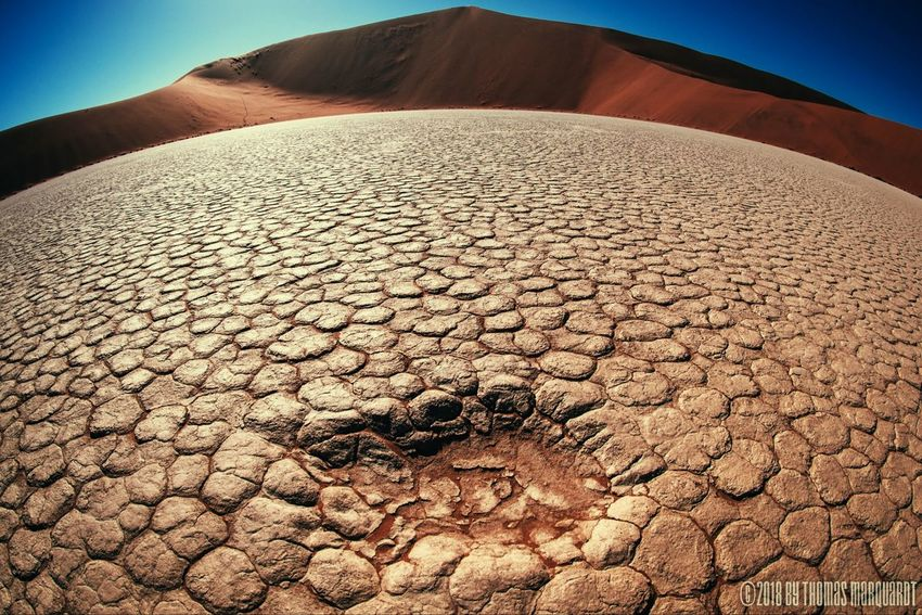 Betterlandscapes Namibia Namib Desert Fisheye Desert Extreme Terrain Barren Cracked Drought Sand Landscape Dry Day Nature Outdoors Sand Dune Sky
