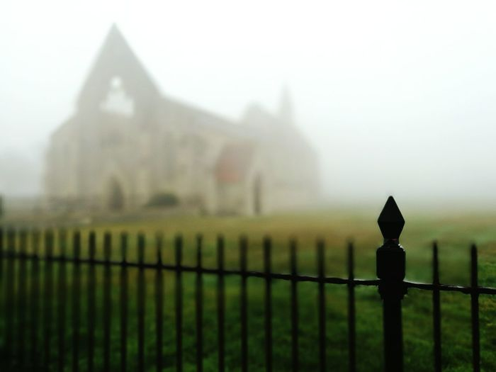 Fence Fog No People Garrison Church Muggy Weather Focus On Foreground Grass Ruins Ruins Architecture