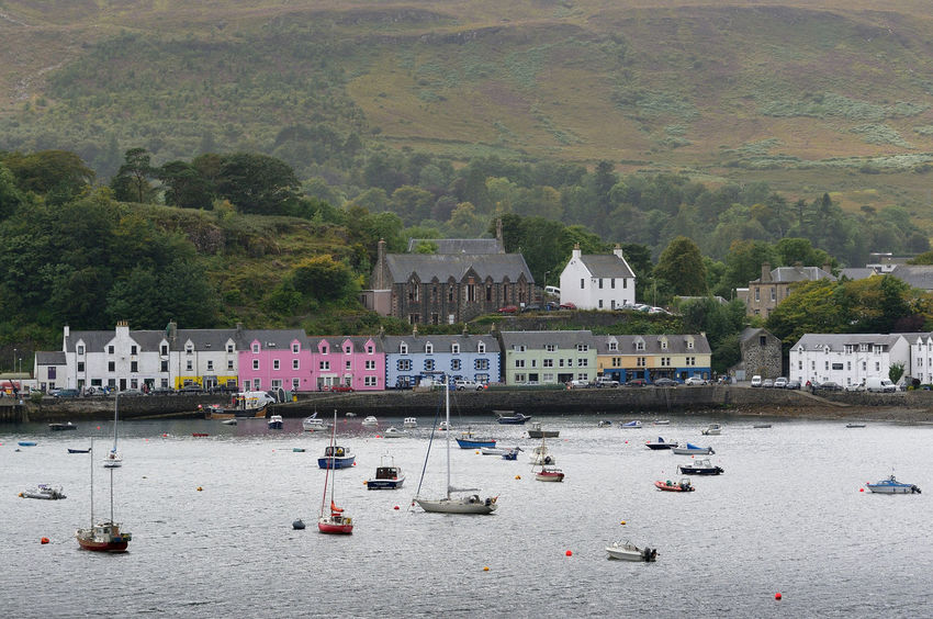 Looking over the harbour at Portree, Isle of Skye Boats Coast Coastline Coloured Houses Harbour Harbour View Highlands Portree Residential Building Scotland Sea Skye Tourism Town TOWNSCAPE Travel Destinations Vacations Water Yacht