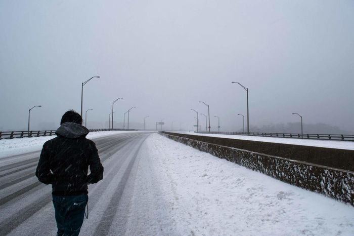 White Wasteland. Snow Perspective Fashion Streetphotography Richmond, VA Style Distant Fog Street Street Photography City DOPE Clouds Photography Check This Out Enjoying Life Highway Freeway Blackandwhite Walking Alone Lonely