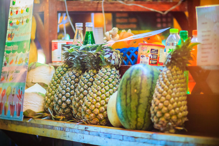 Bangkok, Thailand - March 2, 2017: Fresh pineapple, watermelon and coconut for sale on the street in Bangkok, Thailand. Bangkok Night Market Coconut Fruit Juice Vendor Khao San Rd Khao San Road KhaoSan Khaosan Rd. Khaosandroad Pineapple Business Choice Container Corn Food Food And Drink For Sale Fresh Pineapple Freshness Fruit Fruit Juice Fruit Juice Seller Healthy Eating Khao San Khao San Knok Wua Khao San Rd. Khaosan Road Khaosanroad Large Group Of Objects Market Market Stall Night Market Night Market In Thailand Night Market, No People Pineapple Pineapple Fruit Retail  Retail Display Variation Vegetable Watermelon Watermelon Juice Wellbeing