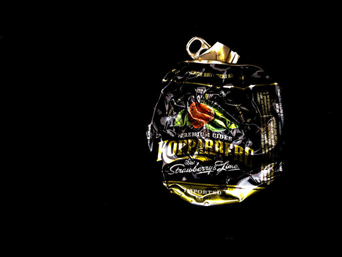 Koppaberg Crumpled Food And Drink Aluminium Can Art And Craft Black Background Close-up Container Copy Space Craft Creativity Cut Out Dark Design Indoors  Koppaberg Luxury No People Pattern Single Object Still Life Studio Shot Wealth