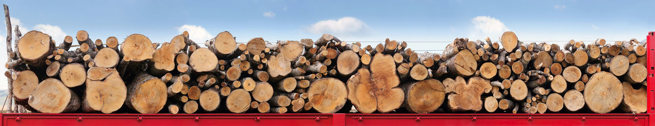 Tree trunks stacked in a row on a red truck, ready to be transported. Horizontal four images side by side, light blue background of sky and clouds. Close-up Cloud - Sky Collage Composition Day Firewood Horizontal In A Row Low Angle View Lumber No People Outdoors Panoramic Piled Rural Sky Stacked Stockpile Texture Timber Tree Trunk Wood Wooden Woodpile