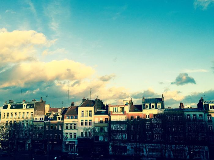 Lille France Flandres  French City Houses Sunlight Sky Sunlight And Shadow