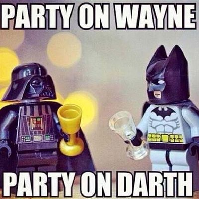 Darthvader Starwars Batman Waynesworld party time excellent!