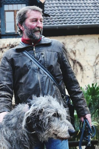 Beard Jacket Leisure Activity Lifestyles Love My Family Love My Dad Only Men Winter 2017 February 2017 Real People Dogslife Dog Of The Day Irish Wolfhound Dogs Of EyeEm Dogwalk Dogs Of Winter Petscorner Dog Pet Collar