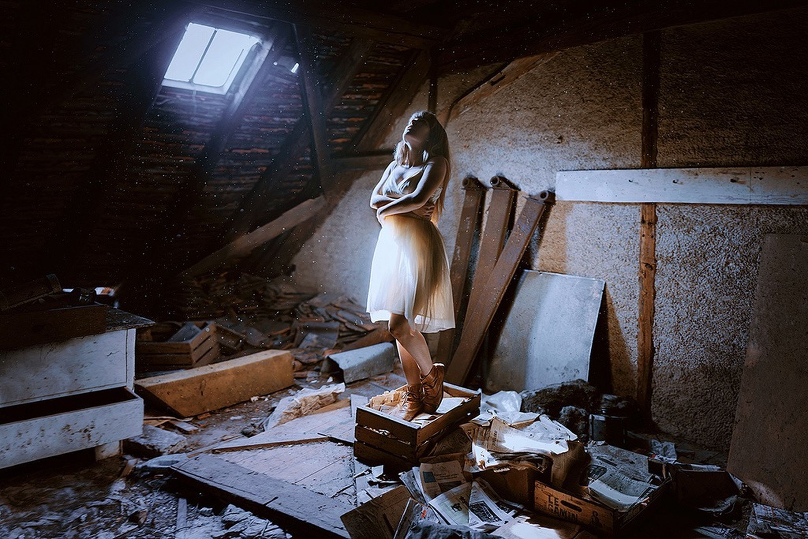 full length, architecture, built structure, abandoned, building exterior, lifestyles, damaged, indoors, steps, old, standing, house, casual clothing, day, men, sitting, building, sunlight