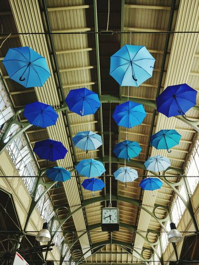 Hanging Full Frame Low Angle View Day No People Indoors  Close-up City Life Berlin Berlin Mitte Arminiusmarkthalle Art Installation Umbrellas Blue Moabit Discover Berlin