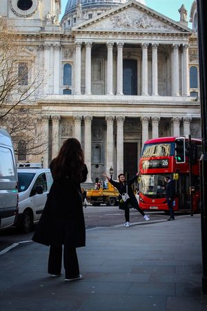 Building Exterior Car Built Structure Architecture Street Transportation Outdoors City Street City Two People Travel Destinations Mode Of Transport Land Vehicle Women Real People Day Adults Only Road Men People Photography London Everyday St Paul's Cathedral Place Of Worship