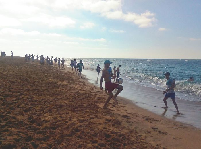 Relaxing Taking Photos Hanging Out Beach People Summertime Fun Summer Beach Day Football Fever Play Football Bouznika Morocco The Essence Of Summer Live For The Story