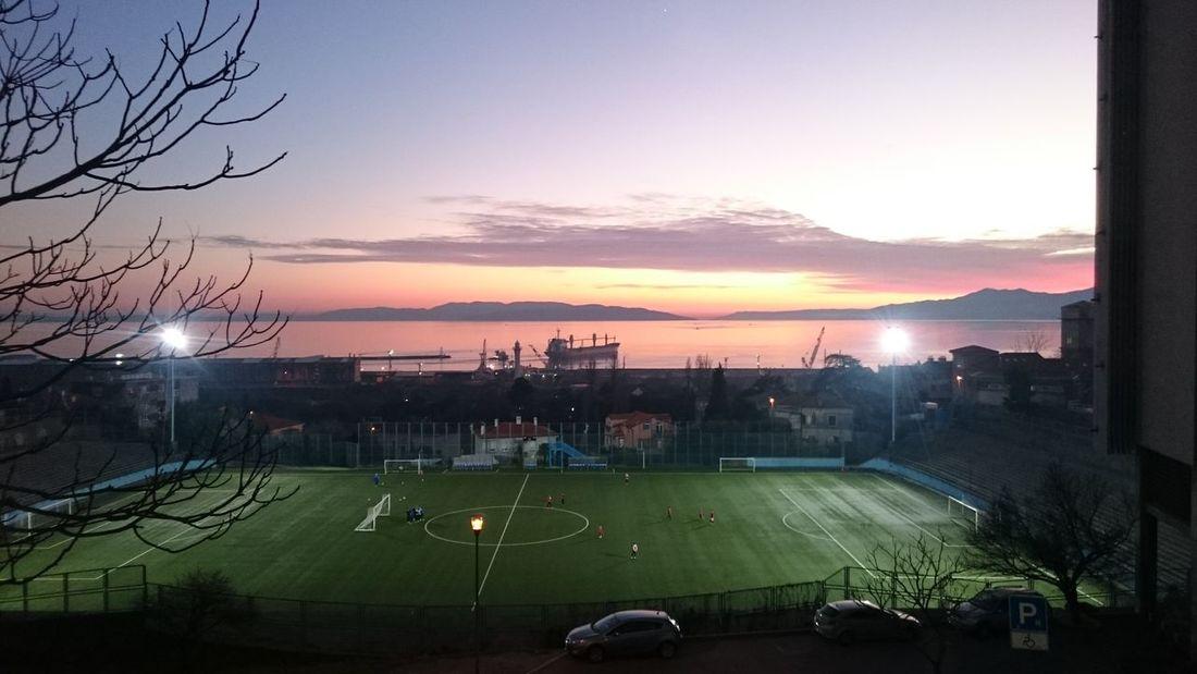 No Filter Water Sunset Sea Sky Orange Ship Football Playground