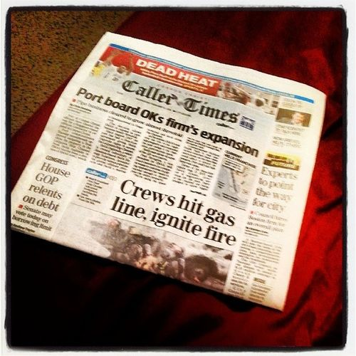 Going to catch up on today's local, national, and world news before going to sleep. ? Callertimes Newspaper Reading Corpuschristi
