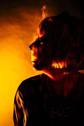 Charred Heat Fire Flame Headshot Portrait One Person Studio Shot
