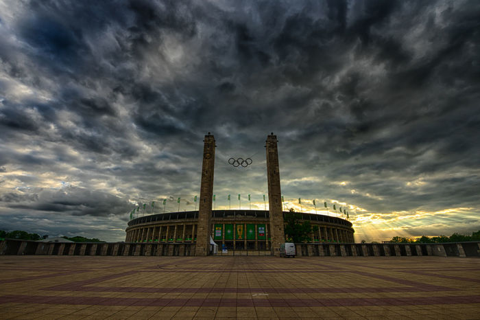 Olympiastadion Berlin Architecture Berlin Built Structure Cloud - Sky Dramatic Sky Fussball Hertha BSC No People Olympiastadion Olympic Stadion Sky Soccer Sunset