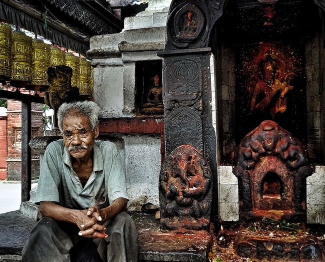 Old Man Meditation History Oldman Nepal Khatmandu Monkeytemple HUMANITY Sitting Architecture Building Exterior Spirituality Religion Temple - Building Buddha First Eyeem Photo