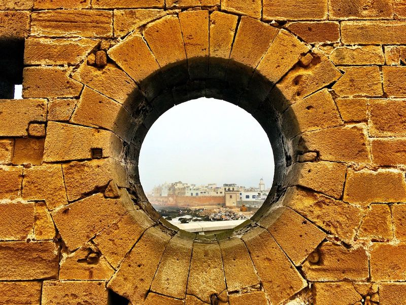 Eye of Essaouira Cityscape Outdoors Travel Travel Photography Old Buildings Essaouira Bay Harbor Ruins Brick Wall Morrocco