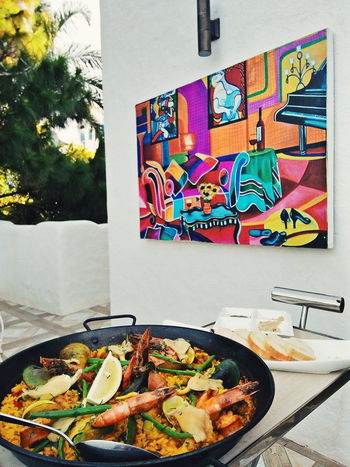 Visual Feast paella means fiesta! No People Food And Drink Day Plate Food Outdoors Freshness Colors PaellaValenciana Celebration Art Foodstagram Rice - Food Staple